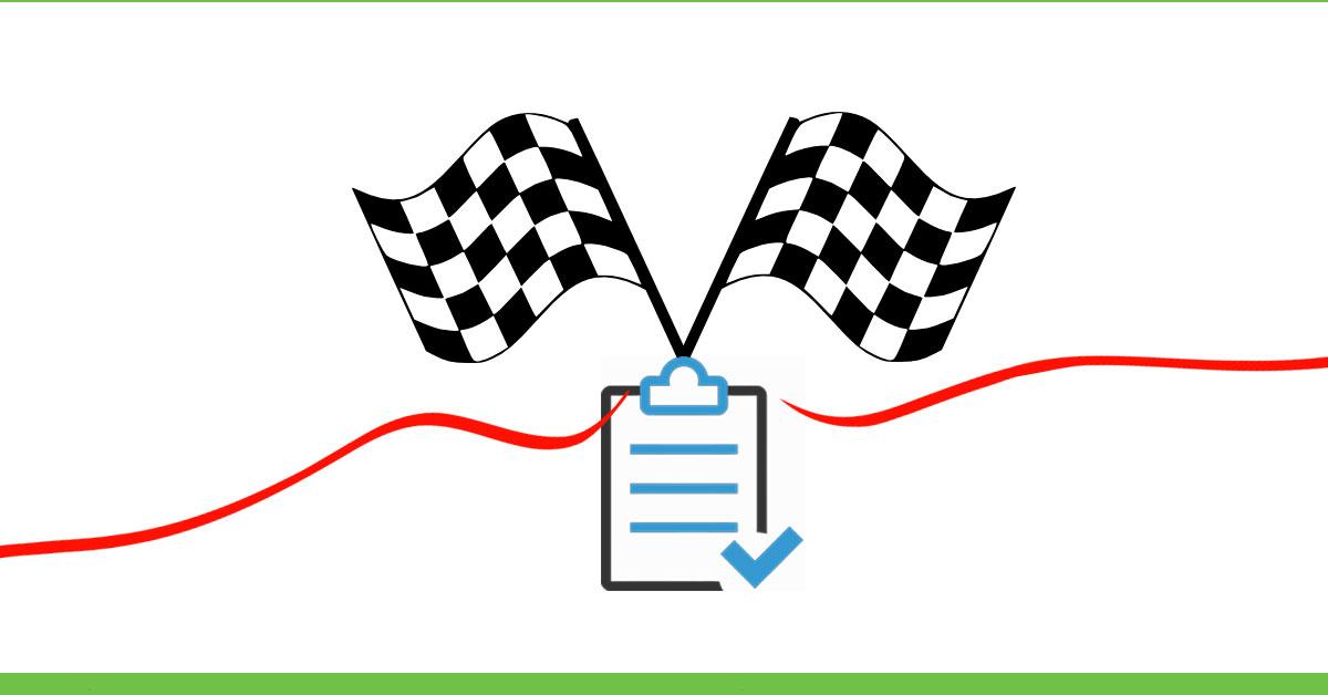 cardápio low carb para emagrecer - conclusão - imagem com uma bandeira e uma linha de chegada + uma prancheta de revisão