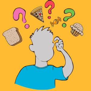 dia do lixo para iniciantes - bonequinho coçando a cabeça com dúvida e várias interrogações em cima da cabeça em meio a vários alimentos ruins para o emagrecimento como pizza, bolos e pães