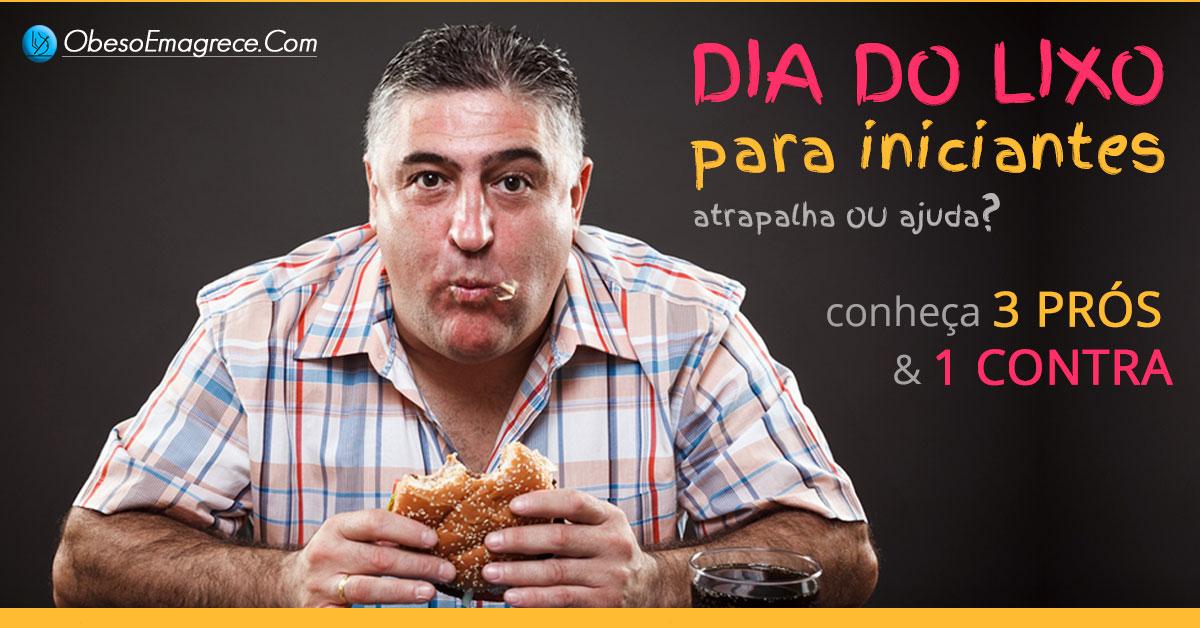 dia do lixo para iniciantes - introdução - homem comendo um hambúrguer com um copo de refrigerante do lado