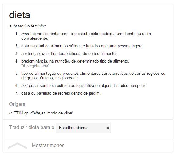 Dieta para emagrecer parte 2 - definição do google
