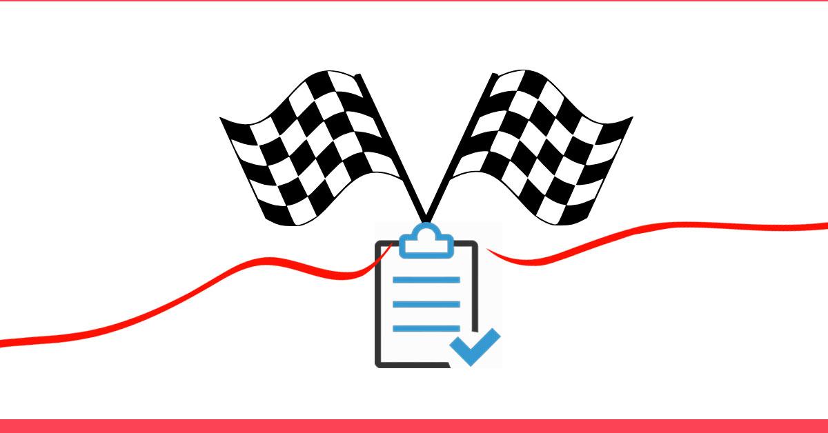 exercícios aeróbicos para emagrecer - conclusão e revisão - imagem de uma bandeira de linha de chegada com uma prancheta indicando a revisão do conteúdo do artigo