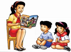 como emagrecer o rosto - introdução - foto ilustrativa de uma mulher contando histórias para duas crianças