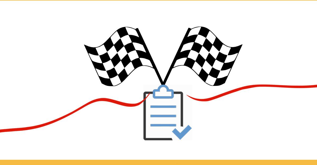 dia do lixo para iniciantes - conclusão - imagem de uma bandeira e uma linha de chagada junto de uma prancheta com sinal de check representando a revisão
