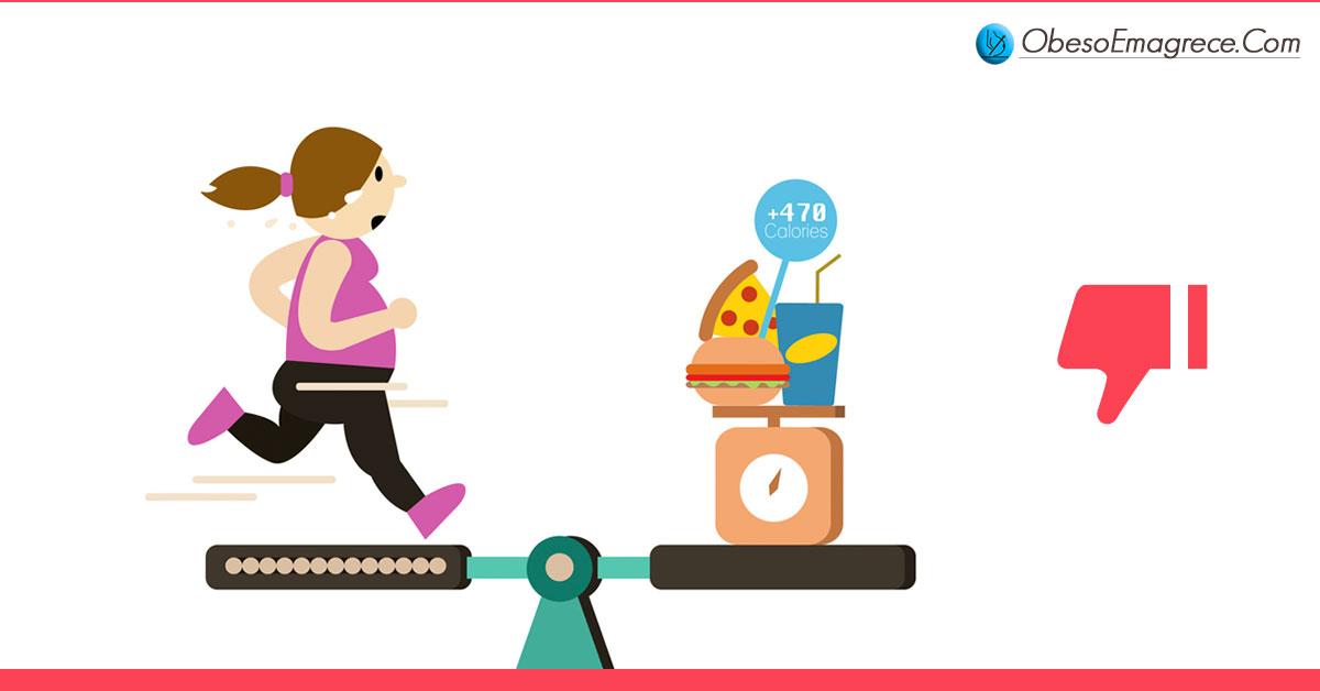 """exercícios aeróbicos para emagrecer - Razão#2 - o fracasso total da recomendação """"coma menos e faça mais exercícios"""" demonstra na prática a ineficiência tanto das dietas recomendadas como também dos exercícios aeróbicos recomendados nos últimos anos - ilustração de uma gangorra com uma mulher correndo de um lado e a comida ingerida do outro lado representando a questão do balanço calórico"""