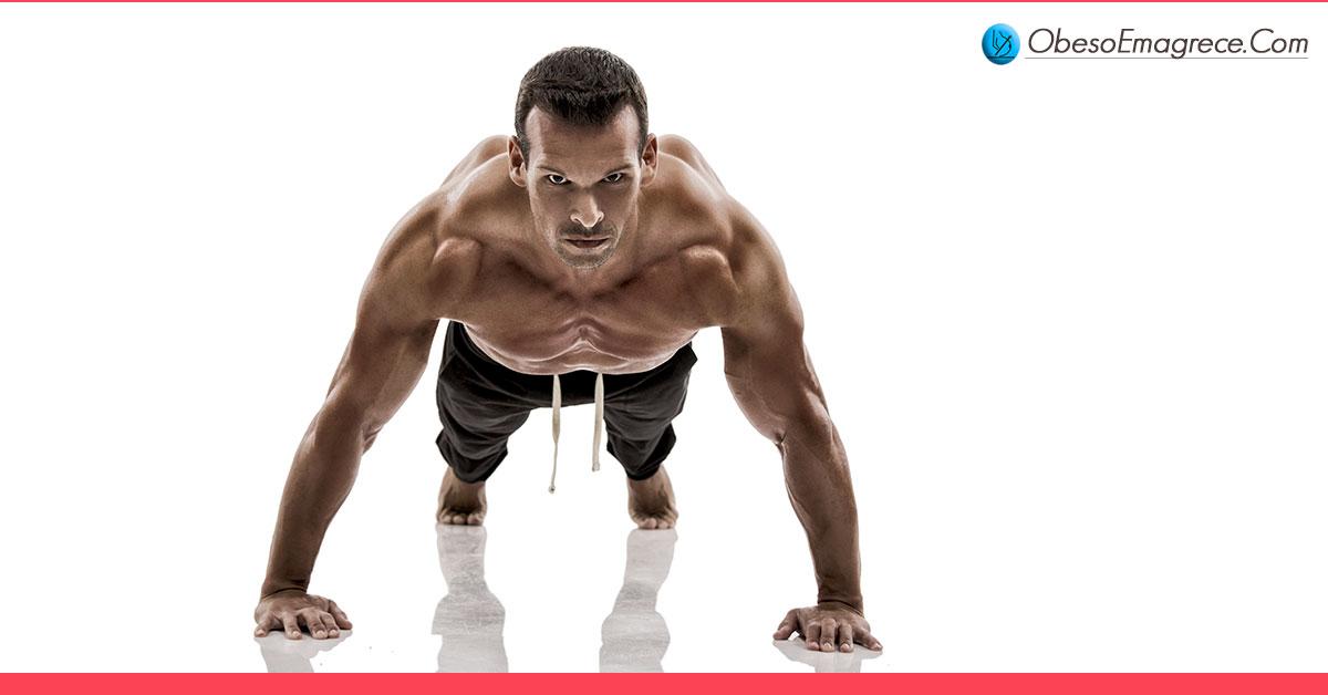 exercícios aeróbicos para emagrecer - Razão#4 - não é preciso emagrecer para depois ganhar músculos: musculação queima até 300% mais gordura que os aeróbicos - imagem de um homem musculoso fazendo flexões