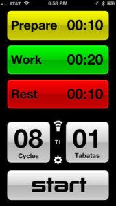 exercícios aeróbicos para emagrecer - imagem de um aplicativo que auxilia a execução do protocolo tabata no smartphone