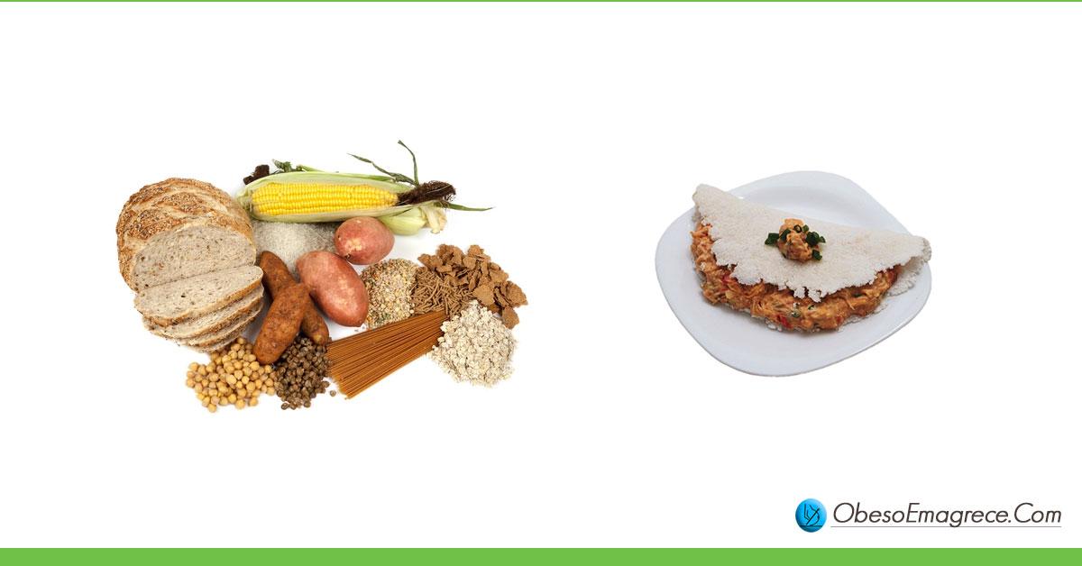 Tapioca engorda ou emagrece? Engorda! - Fato#2: carboidratos engordam e tapioca é um tipo de carboidrato (foto de vários carboidratos como pão, milho, batatas e uma tapioca com recheio de frango)