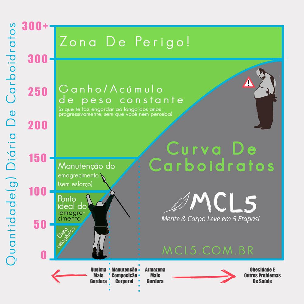 Low carb é para todos?   Infográfico da curva de carboidratos representando a quantidade ideal de carboidratos diários de acordo com objetivo