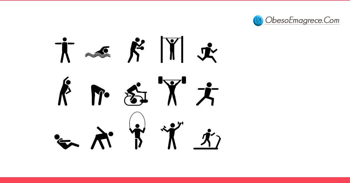 exercícios para emagrecer em casa - quais são os melhores? - imagem com vários bonequinhos fazendo vários tipos de exercícios