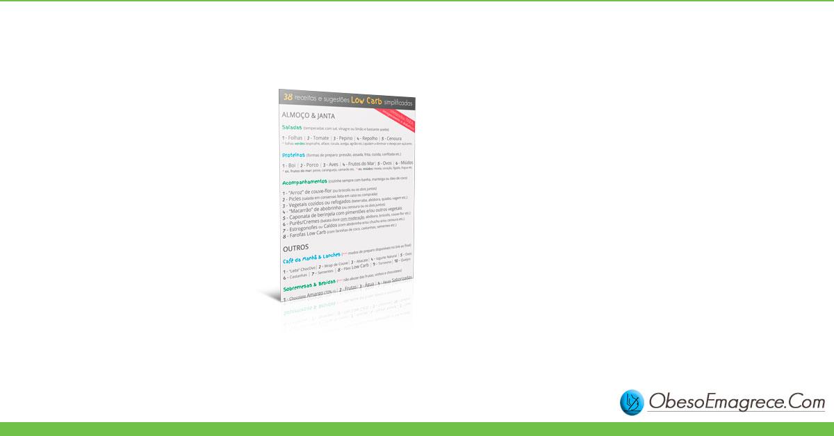 cardápio low carb para emagrecer - infográfico#5: 38 receitas e sugestões low carb simplificadas