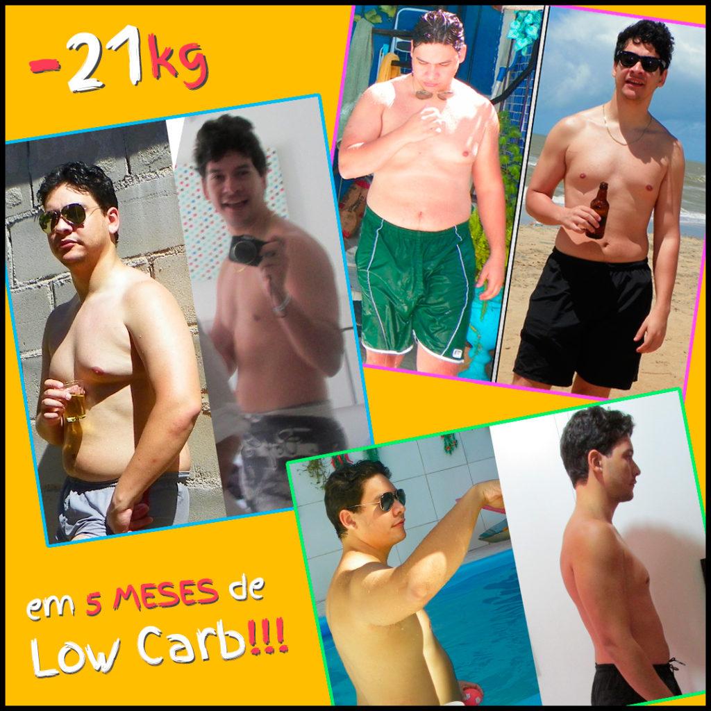cardápio low carb para emagrecer - foto com o antes e depois de Glauber Silva