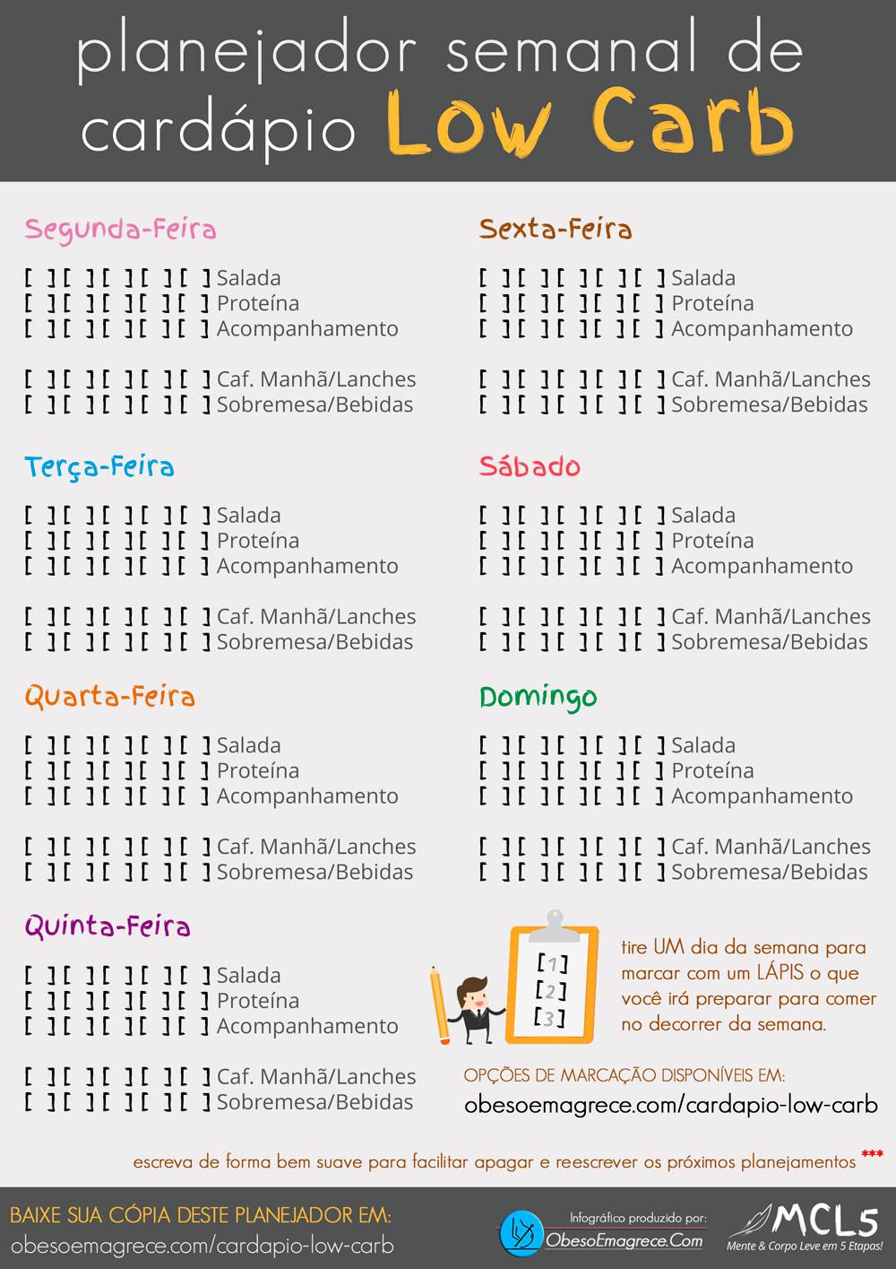 cardápio low carb para emagrecer - infográfico#6: planejador semanal de cardápio low carb para emagrecer em tamanho grande