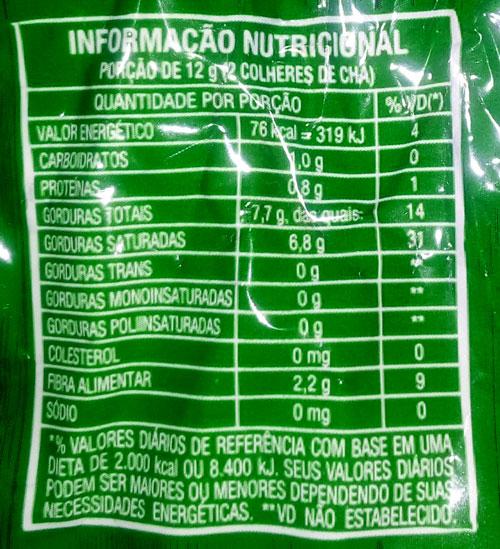 pão low carb de microondas com coco ralado - imagem do rótulo do coco ralado utilizado na receita