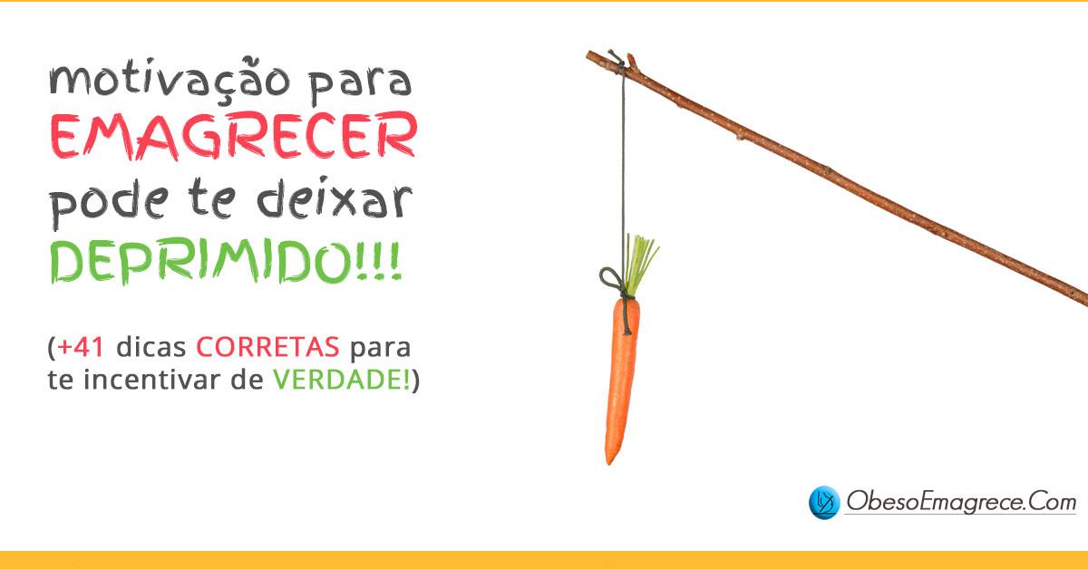Frases de motivação para emagrecer podem te deixar deprimido   Imagem com o título do artigo e a foto de uma cenoura pendurada em um galho.