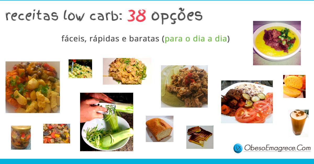 receitas low carb   imagem introdutória com algumas fotos das 38 receitas